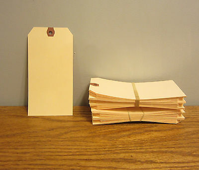 """50 Avery Dennison Manilla #8 Blank Shipping Tags 6 1/4"""" By 3 1/8"""" Scrapbook"""