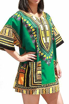 Dashiki African Hippie Green Haute Shirt Women Blouse Men Top Tribal One Size