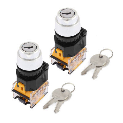 2 Pieces LA86D 2-Position 2NO Key Start Lock Momentary Power Switch AC 380V 10A