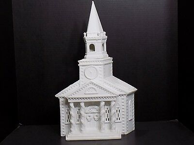 DEPT 56 White Porcelain / Ceramic Bisque Church / Christmas Village House