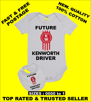 Baby Romper Suit PLUS a Baby Bib printed with FUTURE KENWORTH DRIVER