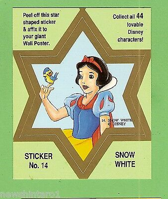 #d544. Disney Star  Sticker Card #14  Snow  White, Green