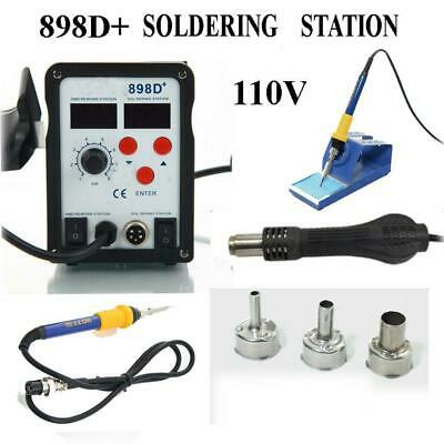 898D+ 2-in-1 Electric SMD Desolder Soldering Station Hot Air Gun w 11 Tips