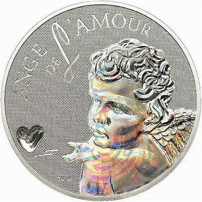 Cameroon 2010 Angel Love 1000 Francs Hologram Colour Silver Coin,BU
