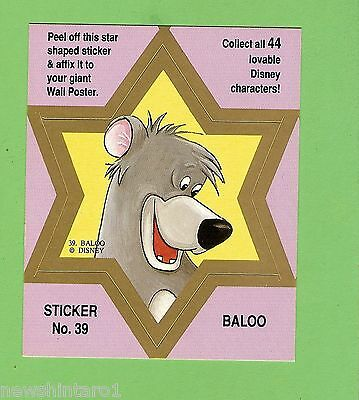 #d544. Disney Star  Sticker Card #39  Baloo, Pink