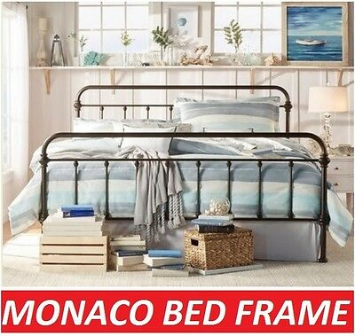 Monaco King Single Double Queen King Size Black White Metal Bed Frame