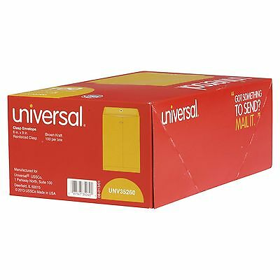 "Universal Clasp Envelope, Side Seam, 28lb, 6"" x 9"", Light Brown Kraft, 100-Count"