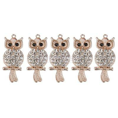 5pcs Crystal Owl Charm Pendant For Necklace Jewelry Making Findings Craft