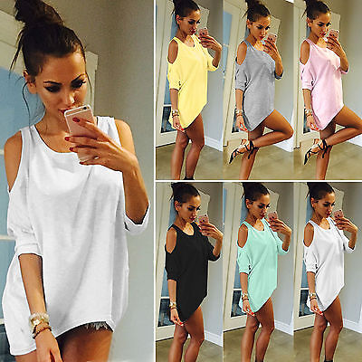 Womens Cold Shoulder Loose T Shirt Blouse 3/4 Sleeve Long Tops Tee Oversized