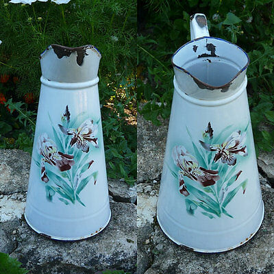 Antique French Enamelware Body Pitcher - Shabby French Country Can Pot