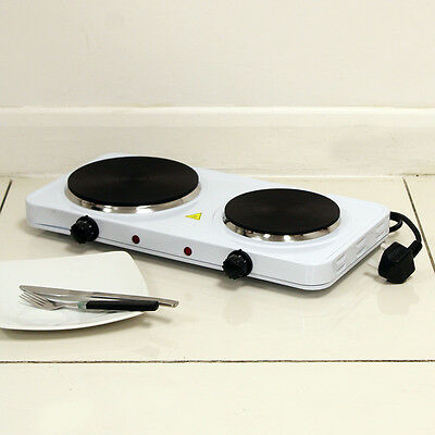Portable Electric Twin/double Hob Hot Plate Kitchen Catering Caravan Cooker