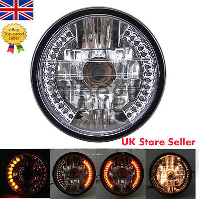 """7"""" Inch Round Motorcycle Headlight Head Lamp Halogen H4 Bulb For HARLEY BOBBER"""