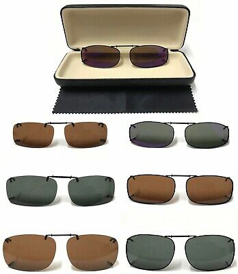 Polarized Clip-On Sunglasses Over Glasses Comes With Hard Case/UV 400 Protection