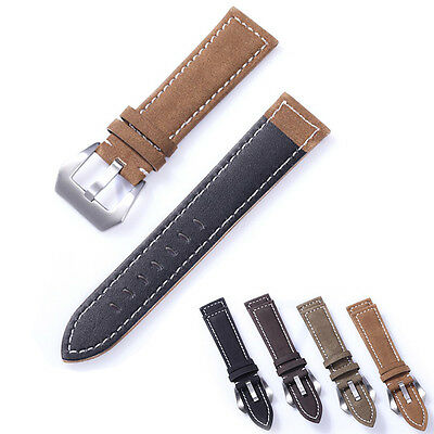 Mens Genuine Matte Leather Watch Strap Band 18/20/22/24mm Stainless Steel Buckle