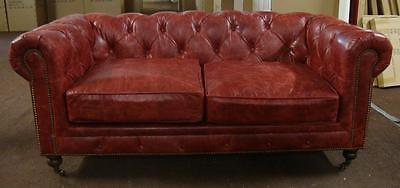 Two Seater Chesterfield Leather Sofa - 'Oxblood Red' Colour - 184cm Long