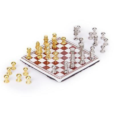 1:12 Scale Metal Chess Set Dollhouse Miniature Nursery Toy board Game Accessory