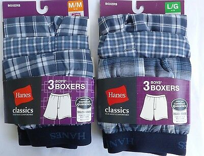 Hanes  Boys Boxers Underwear  3 pack  Blue Plaids Tagless  Size Medium or Large