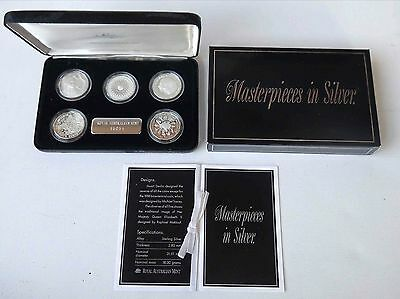 1989 MASTERPIECES IN SILVER PROOF COIN SET - Royal Australia Mint - 5 x 50¢