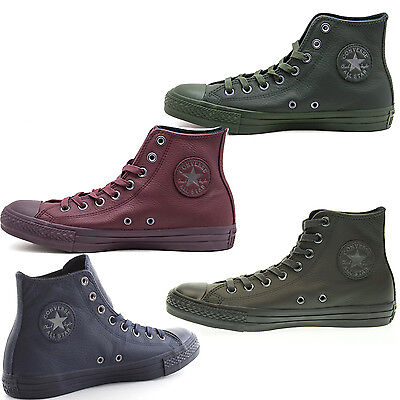 Scarpe Converse Hi All Star Chuck Taylor Leather Uomo Alte Donna Pelle Shoes
