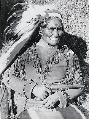 "INDIAN   GERONIMO with Texas Dance Gun  Reprint  8"" x 10"" B & W Photo Reprint"
