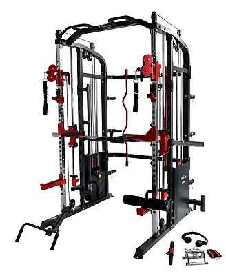 Smith Machine Power Rack Functional Trainer Cable Cross Over ChinUp Dips Core