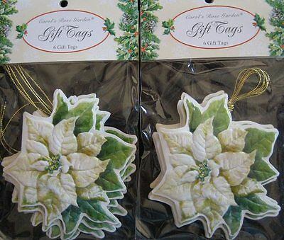 12 Carol Wilson Gift Tags Christmas White Poinsetta Embossed Diecut Name