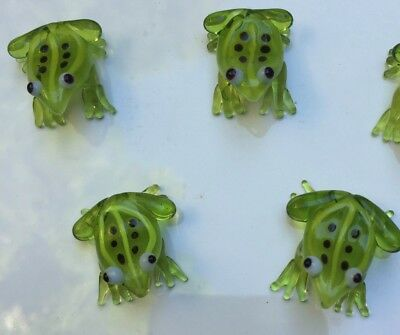 5 PCS Glass Figurine Blown Ornamental small glass Frogs, Gift