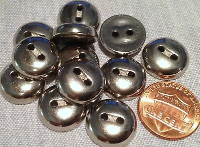 """12 Shiny Domed Silver Tone Sew-through Plastic Buttons 15.5mm 5/8"""" # 7792"""
