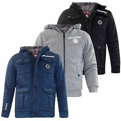 New Kids Rawcroft Branded Jackets Boys Furliner Winter Coats Sherpa Fleece Lined