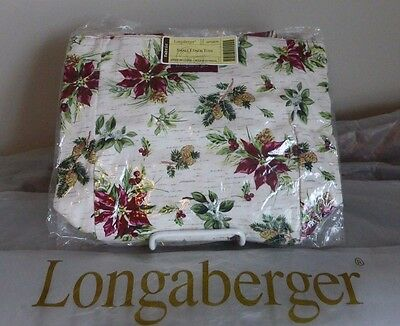 Longaberger Small Lunch Tote Holiday Botanical Holiday Stripe Handles New in Bag