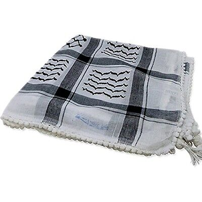 Authentic Keffiyeh Black Shemagh Muslim Cover Scarf Arab Neck Head Kufiya