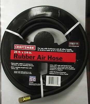"""Craftsman 16111 1/4""""  x 25 ft. Rubber Air Hose Heavy-Duty 300 PSI Max USA MADE"""