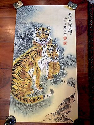 Vintage 1930's Chinese Painted Scroll - Pair Of Tigers In Repose By Zong Xiang