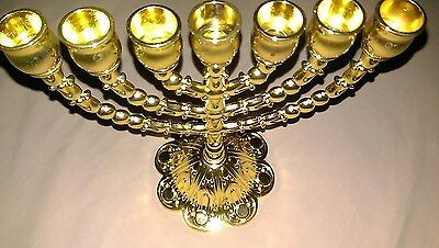 """6.5"""" inches Box 12 Tribes of Israel Emblems Jewish 7 Branch Gold Temple Menorah"""