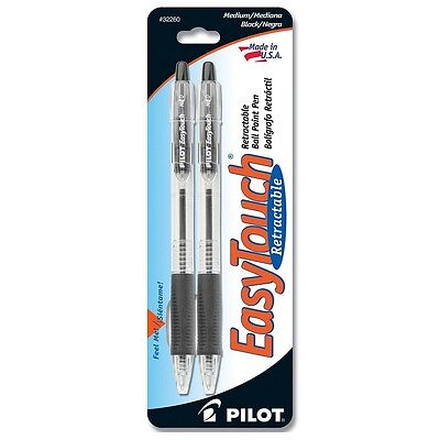 Pilot EasyTouch Medium Retractable Ball Point Pens, Black 2 ea