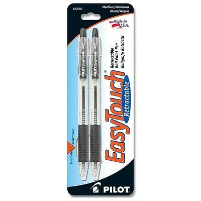 Pilot EasyTouch Medium Retractable Ball Point Pens, Black 2 ea (Pack of 8)