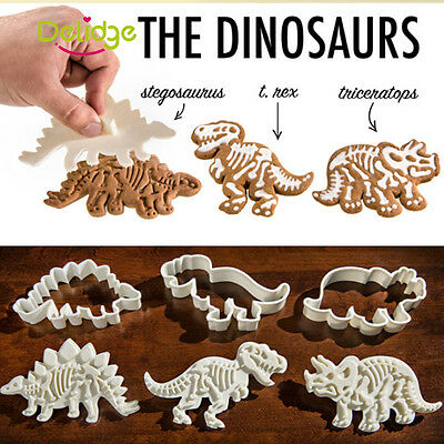 3 PCS Dinosaur Cookies Cutter Biscuit Pastry Fondant Cake Decor Mold Mould Tool