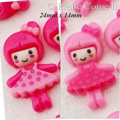 Kawaii Flat Back Resin Doll with Flowery Dress Cabochon Decoden Charm