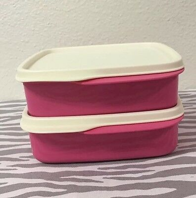 Tupperware Square Packette Divided Dish Lunch Containers Set Of 2 Pink New 2 Cup