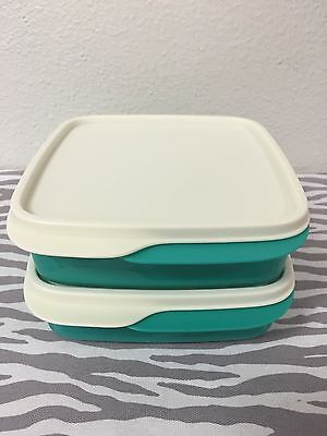 Tupperware Packette Divided Lunch Snack Containers Set Of 2 Aqua 2 Cups New