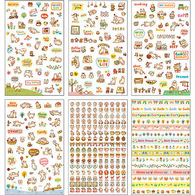 6 Sheets Kawaii Cartoon Cat Paper Sticker for Scrapbooking Diary Decor Cute PVC