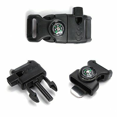 NEW Side Release whistle Buckle Flint Fire Starter-Compass for Paracord Bracelet