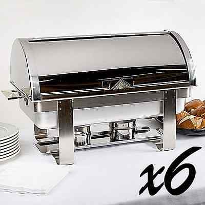 6 PACK! New Deluxe 8 Qt. Full Size Roll Top Chafer Steel Catering Buffet Serving
