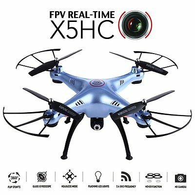 SYMA X5HC RC Drone Quadcopter 2MP HD Camera Remote Control Helicopter Blue