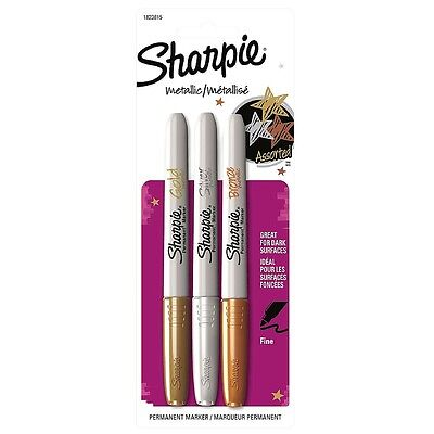 Sharpie Metallic Fine Point Permanent Markers, Assorted 3 ea