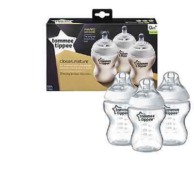 Tommee Tippee 422530 Closer to Nature Easi-vent 260 ml Feeding Bottles (3-Pack)