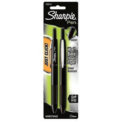 Sharpie Pen Retractable Fine Point Pens, Black 2 ea (Pack of 2)