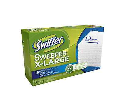 Swiffer Sweeper X-Large Dry Sweeping Cloths Refills, Unscented 16 ea (Pack of 2)