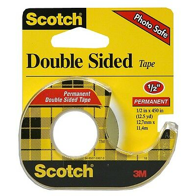 """Scotch Double Sided Tape With Dispenser, 1/2"""" x 450"""" 1 ea (Pack of 2)"""