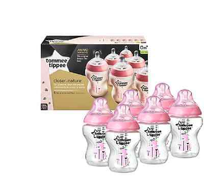Tommee Tippee Closer to Nature Easivent 260ml Bottles-Decorated Pink Pack of 6
